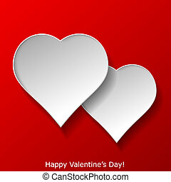 Abstract two hearts on red background. Valentines day greeting card. Vector eps10 illustration