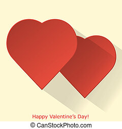 Modern Valentines day greeting card in flat design with long...
