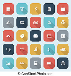 Trendy simple finance icons set in flat design with long shadows for web, mobile applications, social networks etc. Vector eps10 illustration