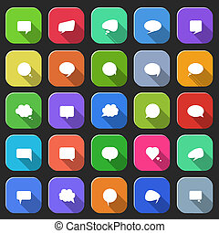 Trendy speech bubbles set in flat design with long shadows for web, mobile applications etc. Vector eps10 illustration