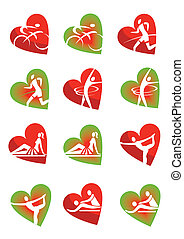Fitness icons heart shape - Icons with fitness and healthy...