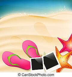 Beach with flip-flops, seastar and photoframe