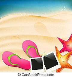 Beach with flip-flops, seastar and  photoframe