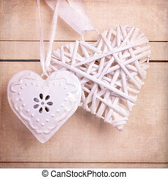 Vintage hearts with texture