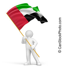 Man and United Arab Emirates flag Image with clipping path