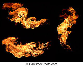 flame - The red flames on a black background.