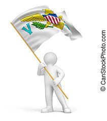 homme, vierge, îles, drapeau