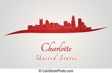 Charlotte skyline in red