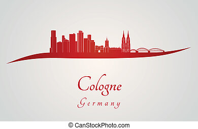 Cologne skyline in red and gray background in editable...