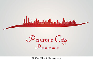Panama City skyline in red and gray background in editable...