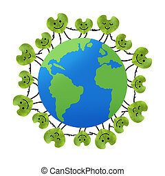 Green leaf in heart shape, Save the planet, environmental...