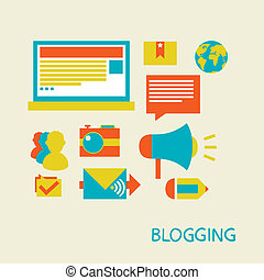 Blogging - vector illustration in a flat style. Blogging and...