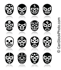 Lucha libre mexican wrestling masks - Vector icons set of...