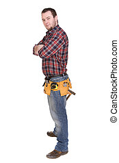 worker with tools over white background