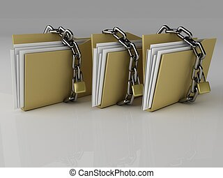 Padlock on folder, 3d Illustration