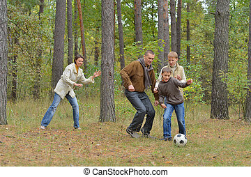 Family is playing football