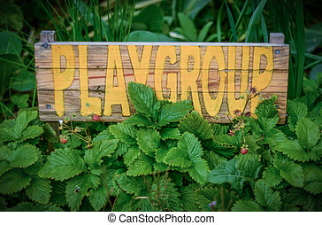 Rustic Sign For School Playgroup - Rustic Sign In The Garden...