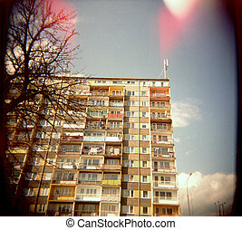 An apartment block in a small Polish town. - A stock...