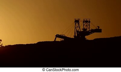 bucket-wheel excavator - Video footage of a open Coal mining...