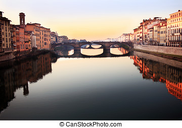 Florence Italy river view - Florence Italy, view along the...