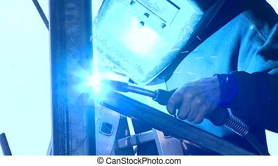 Welding Operator - video footage of a welding operator