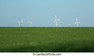 wind turbine - video footage of a wind turbine and the...