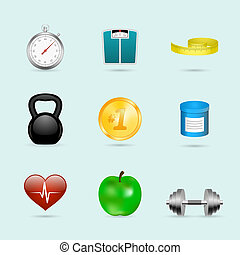 Fitness sport icons set - Fitness sport healthcare realistic...