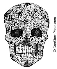 Floral skull - Human skull with hand- drawn flowers,...