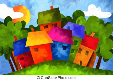 houses in the countryside - drawing with colorful houses in...