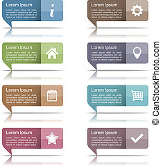 Speech Bubbles with Icons - Modern glossy speech bubbles...