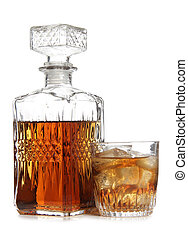 Decanter of whiskey - Glass decanter of whiskey on white...