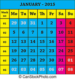 2015 January Calendar ISO 8601 with week number