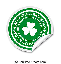 St Patricks day sticker with shamrock
