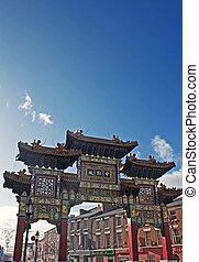 Chinese arch, at the entrance to the chinatown district of...