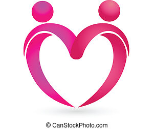 Heart love logo - Couples figures with a heart icon vector