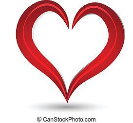 Red Heart Symbol - Vector of stylized heart Valentines Day