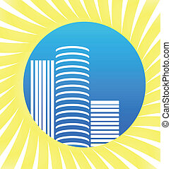 Modern city buildings - Vector of sun and Modern city...