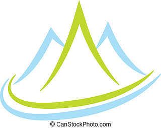 Blue mountains logo - Vector of mountains icon background