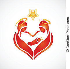 Holy family love  - Vector of nativity scene
