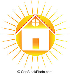 House with sun logo - Vector of sun and house icon