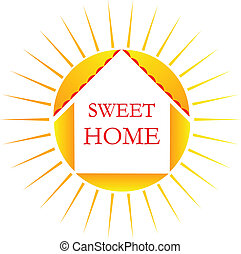 Sweet home logo - Vector of sun and sweet home word icon