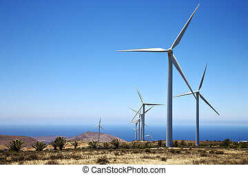 africa wind turbines and the sky in isle of lanzarote spain...