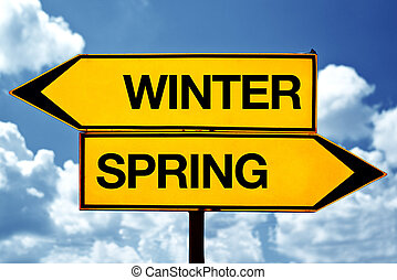 Winter or spring opposite signs. Two blank opposite signs...