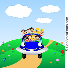 family go by rest in blue car