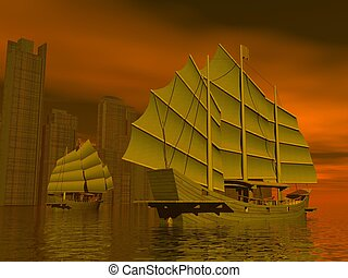 Chinese junk ships - 3D render