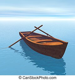 Wood boat - 3D render - Wood boat on the water in green...