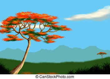 tropical landscape - raster illustration, tropical landscape...