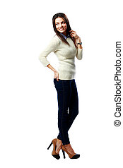 Full-length portrait of a young smiling businesswoman...