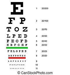 Eye test chart use by doctors Vector illustration