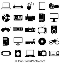 Collection flat icons. Eectronic devices symbols. Vector illustration.